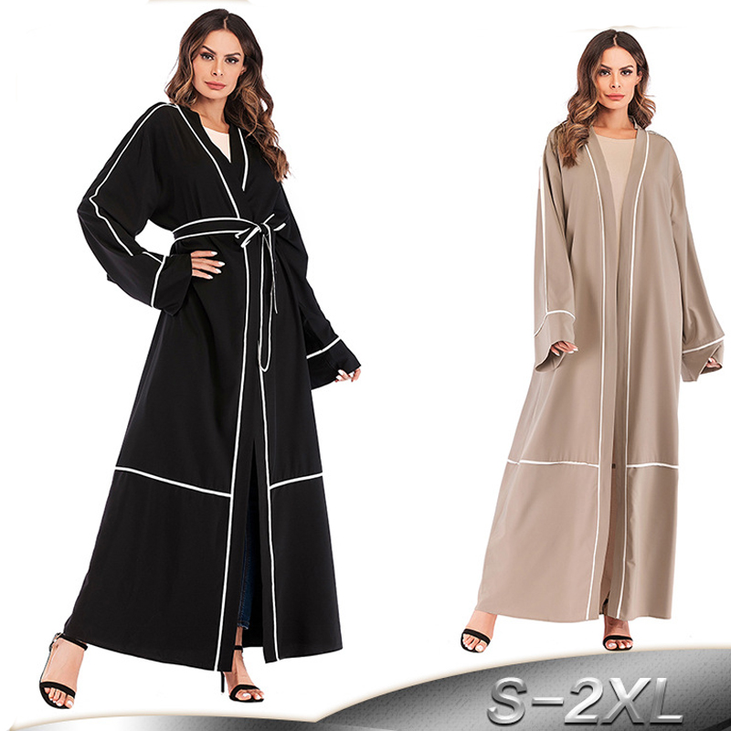 Long Striped Abaya Dubai Kaftan Arab Islam Muslim Kimono Cardigan Hijab Dress Qatar Abayas For Women Turkish Islamic Clothing