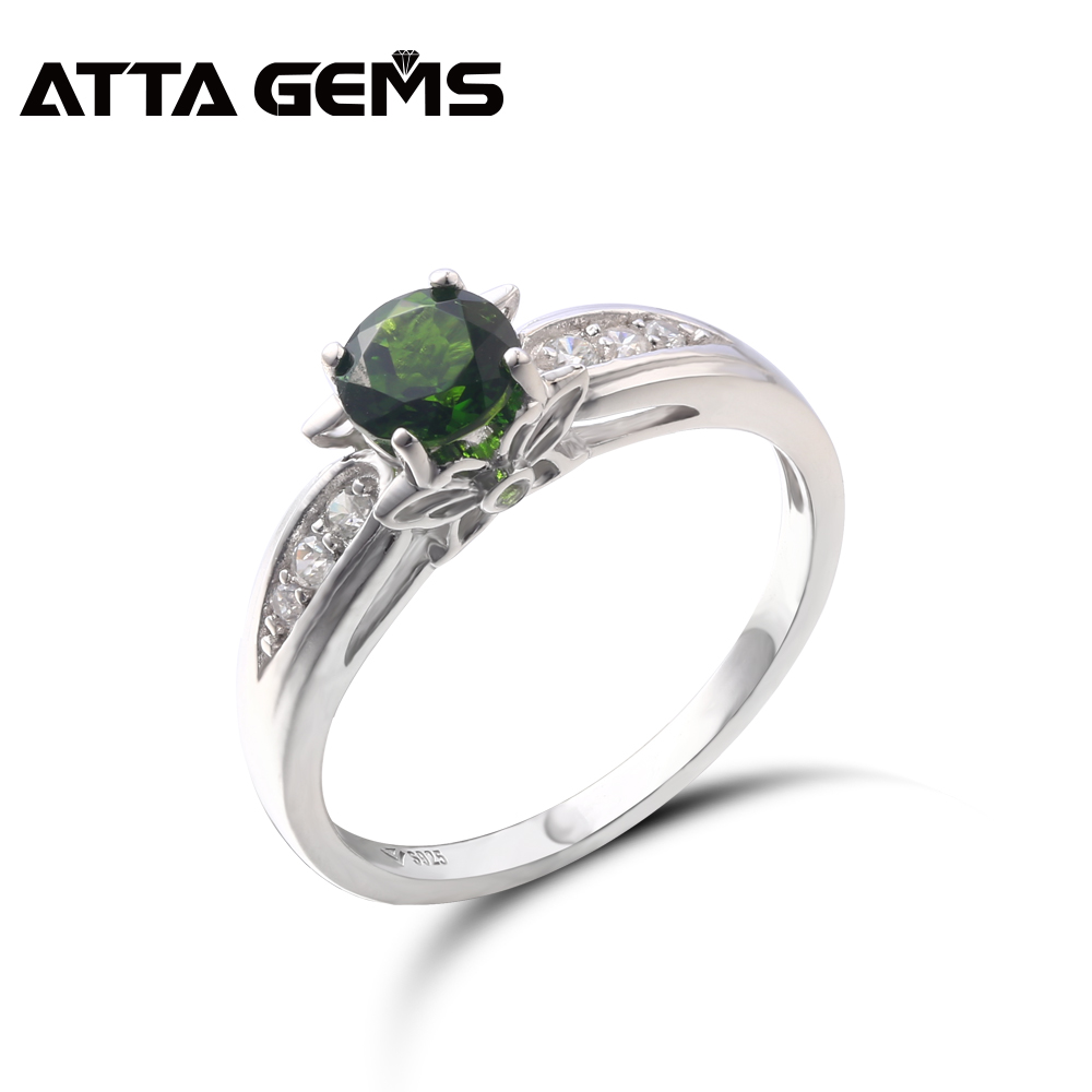 Natural Chrome Diopside Sterling Silver Rings For Women Round 6mm for Wedding Engagement Ring S925 Christmas
