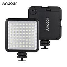 Iluminação de vídeo andoer 64led, com painel de luz, regulável, para câmera canon, nikon, sony, panasonic, olympus, godox