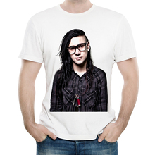 цена на Skrillex T Shirt White Color Mens Fashion Print Short Sleeve Skrillex Logo T-shirt Tops Tees tshirt Casual T-shirt