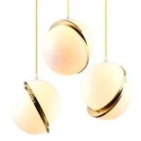 Творческий Half Moon мяч Droplight современный светодиодный подвесные светильники простые акриловые железа подвесной светильник домашнего освеще