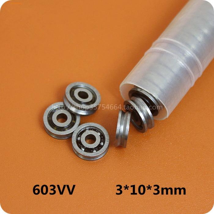 Fixmee 10pcs HCS Mini 3x10x3mm Deep V Groove Pulley Wheels Roller 603VV Ball Bearings цена