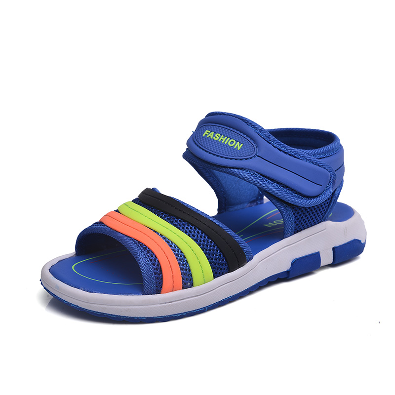 HOBIBEAR Summer Children Sandals Quick-dry Mesh Boys Sandals For Beach TPR Anti-slippery School Kids Shoes Flat with Cut-outs