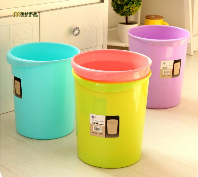1PC Household trash basket lovely living room kitchen bathroom are no cover trash Waste Bins LF 081