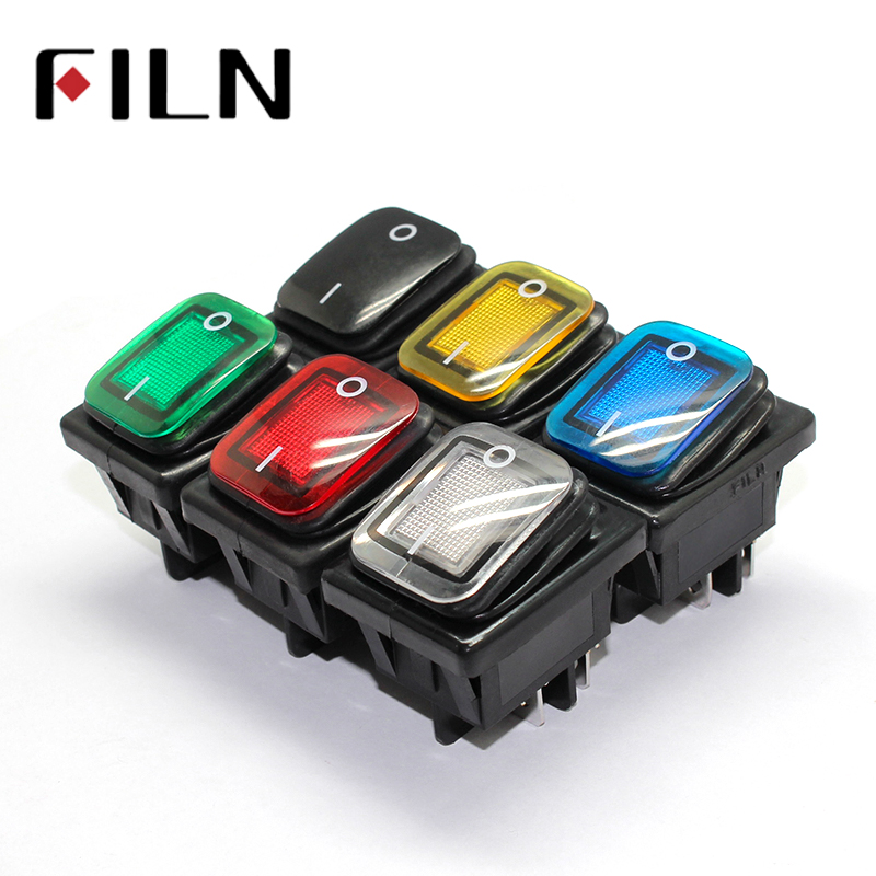 On Off 16A/250V Heavy Duty 4 Pin DPST IP67 Sealed Waterproof T85 Auto Boat Marine Rocker Switch With LED 12V 24V 110V 220V 30x22