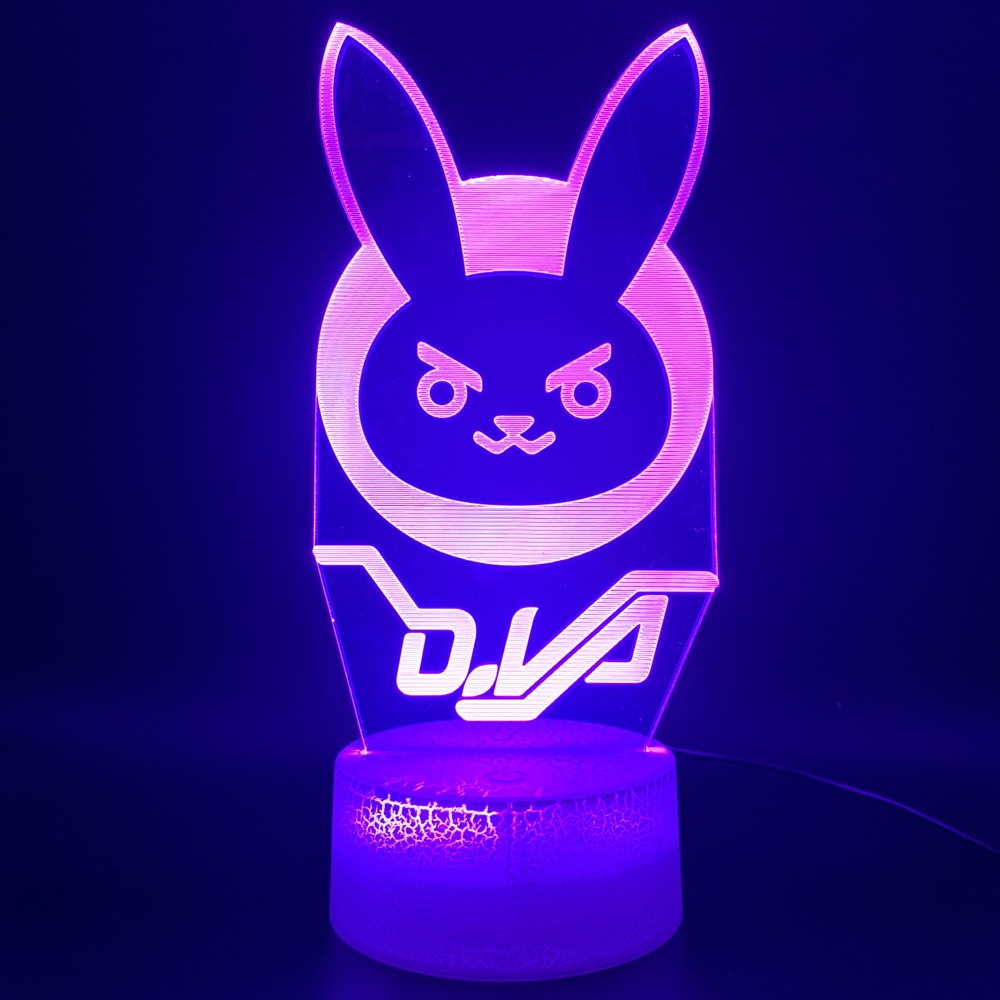 Novelty Light Game Overwatch D.Va Hana Song Office Home Decor Lamp Birthday Gift For Kid Child 3d Optical Led Night Light Lamp