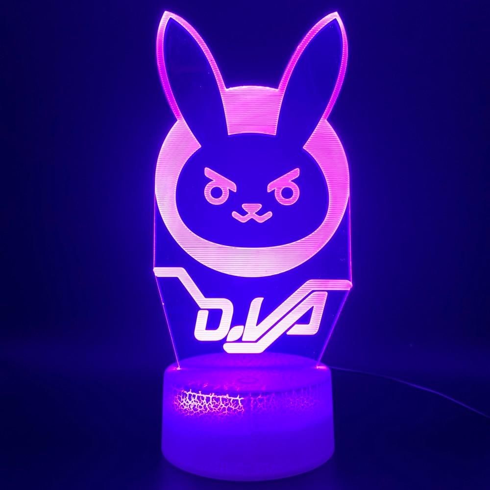 Novelty Light Game Overwatch D.Va Hana Song Office Home Decor Lamp Birthday Gift For Kid Child 3d Optical Led Night Light Lamp