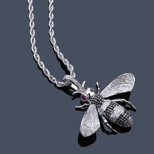 Image 3 - TOPGRILLZ Gold Silver Color Iced Out Cubic Zircon Animal Bee Pendant Necklace Mens Women Hip Hop Jewelry Gifts