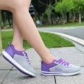 2016 Новое Прибытие Лето Легкие Женщины Прогулки Сетки Холст Обувь Повседневная Дамы Скольжения На Плоской Подошве Платформы Feminino