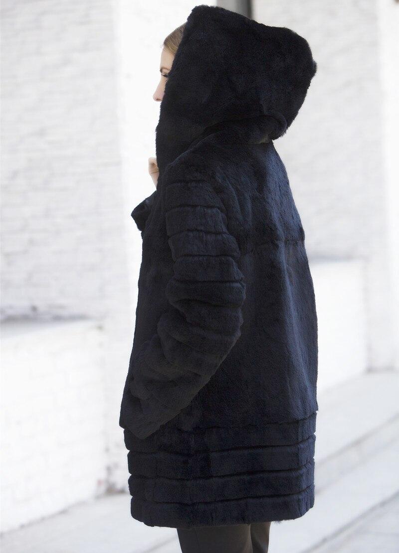 Capuchon Fourrure Chapeau Avec D'hiver 2018 Plus Un Nouveau Hiver La Lapin Femmes Taille Noir De Véritable Manteau Vestes U0q7wBxn7