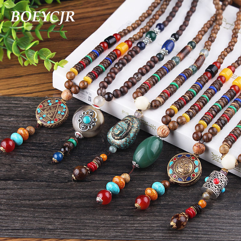 BOEYCJR 10 Styles Available PANGA-PANGA Wood Beads Necklace Handmade Jewelry Nepal Ethnic Pendant Necklace for Men or Women 2018 boeycjr yoga jewelry meditation wood necklace chain handmade jewelry ethnic pendant necklace for men and women gift 2018