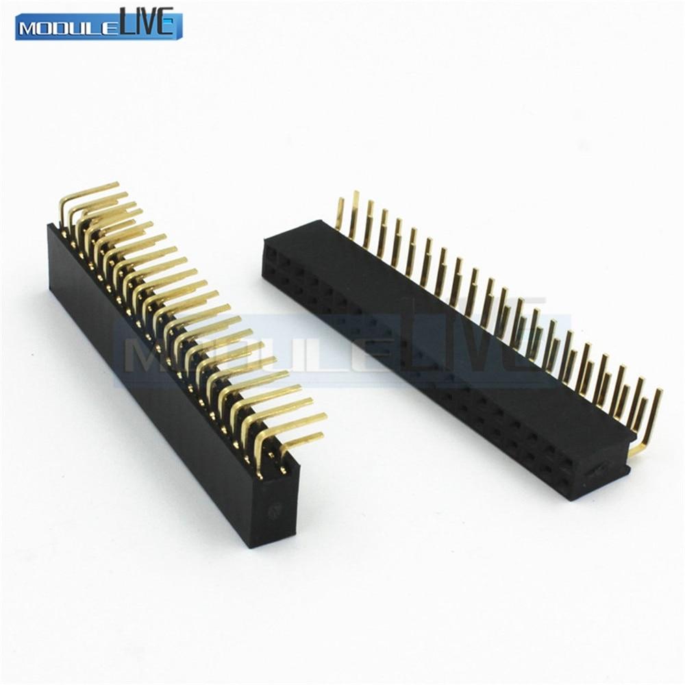 цена на 10PCS 2X20Pin 40Pin Double Row Female Right Angle Header Socket Pin Strip 2.54mm