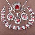 Adorável Red Stone Anéis de Zircônia Conjuntos de Jóias de Prata Esterlina 925 Brincos de Pingente de Colar Pulseira Frete Grátis JQ025
