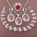 Adorable Red Stone  Zirconia  925 Sterling Silver Jewelry Sets Necklace Pendant Earrings Rings Bracelet Free Shipping JQ025