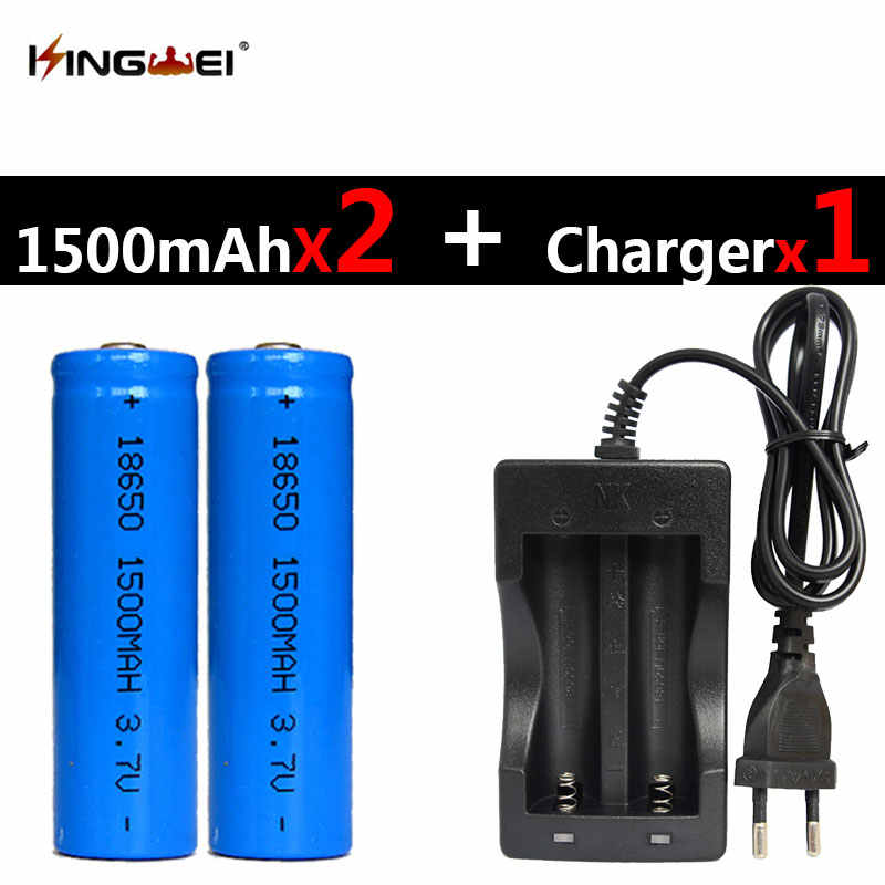New 2Pcs 18650 3.7v Rechargeable Li-ion 1500mah Battery +one NK-809 Universal Double Battery Charger for Flashlight Headlight