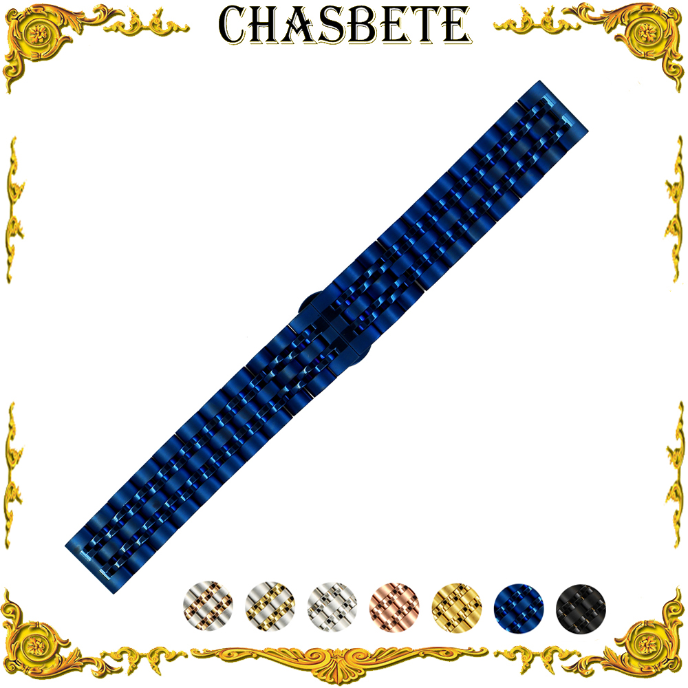 20mm 22mm Stainless Steel Watch Band for Seiko Metal Strap Wrist Loop Belt Bracelet Black Silver Blue Rose Gold + Spring Bar