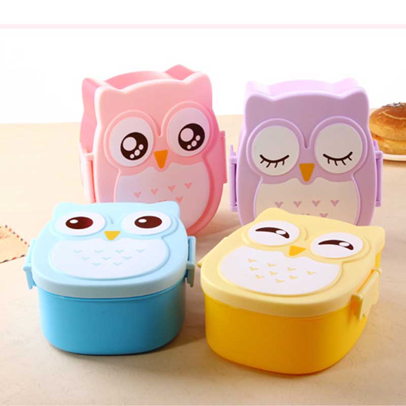 New Cute Cartoon Owl Lunch Box Food Container Storage Box ...