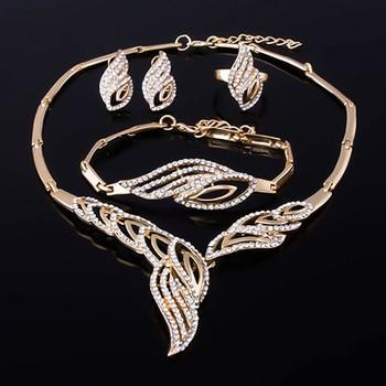Wavy Rhinestone Gold Jewelry Set 2