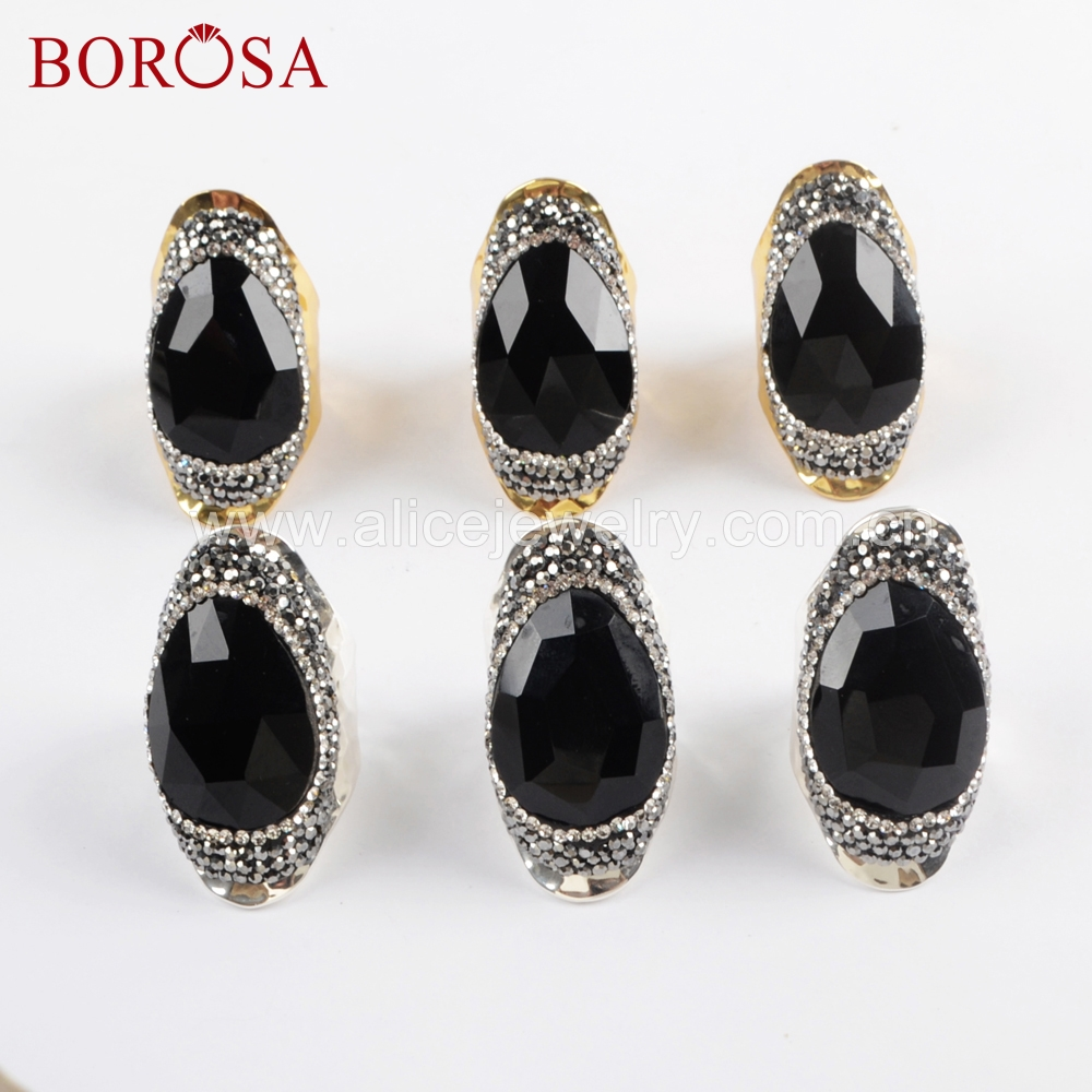 BOROSA 5PCS Fashion Gold Silver Color Rhinestone Paved Black Agates Faced Stone Ring Druzy Rings Party