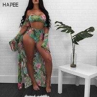 Off The Shoulder Women Print Frill Tie Up Brazilian Bathing Suits Three Piece Bikini Set Cover
