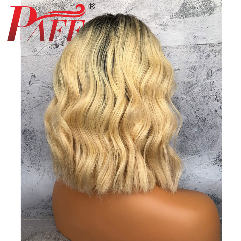 PAFF Lace Front Pervain Human Hair Wigs 1b 613 Black Roots Ombre Color Blonde Wigs Silk Base Remy Hair Body Wave Short Bob Wigs in Human Hair Lace Wigs from Hair Extensions Wigs