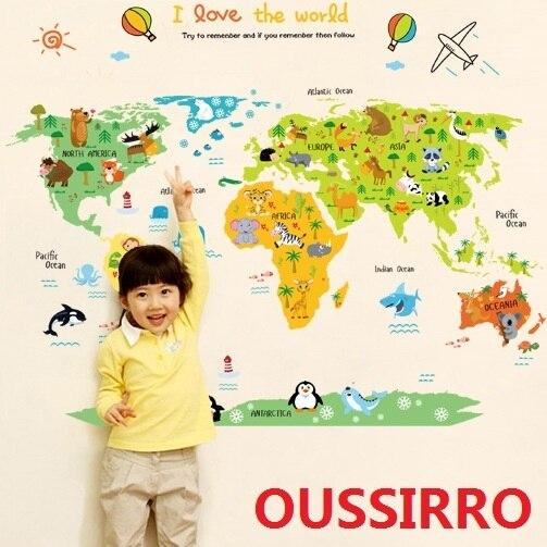 OUSSIRRO Sticker Wall My Cute The Little World Map Children Bedroom - Cute world map wallpaper