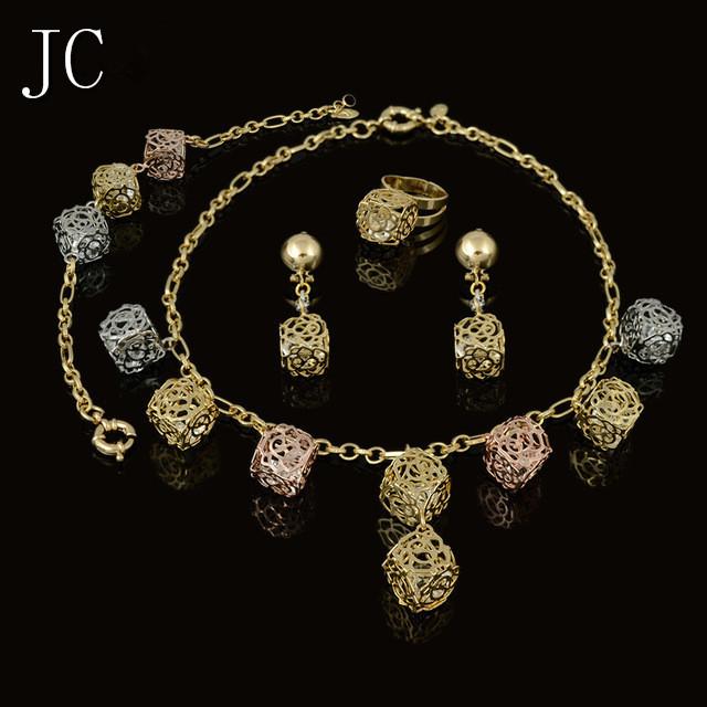 2016 La Venta Caliente Nuevo Dubai Sistema de La Joyería 3 color Oro Plateado Joyería de La Boda Establece Parure Bijoux Femme