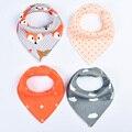 4 Unids/lote Bebé Baberos Burp Triángulo de Algodón Suave Para Niños Toddler Accesorios Lindo Infantil Toalla Alimentación Pañuelo Babero Fresco BB0152