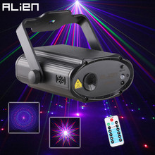 Miniproyector láser ALIEN con USB para escenario, 8 patrones, RGB, efecto de iluminación, fiesta, DJ, discoteca, Navidad, familia