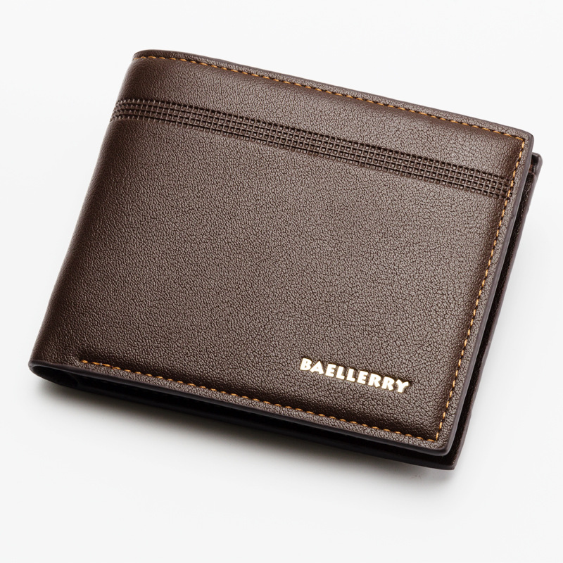 Men's Business Wallet Casual Durable Short Purses Multiple Card Slots Money Pocket PU Leather Wallet ID Card Cases WB85