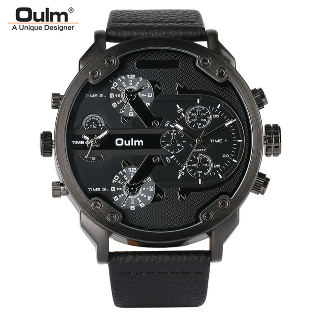OULM Big Dial Quartz Watch Men Military Black Color Genuine Leather Band Casual Man Wrist Watches Luxury Unique Style Male Clock