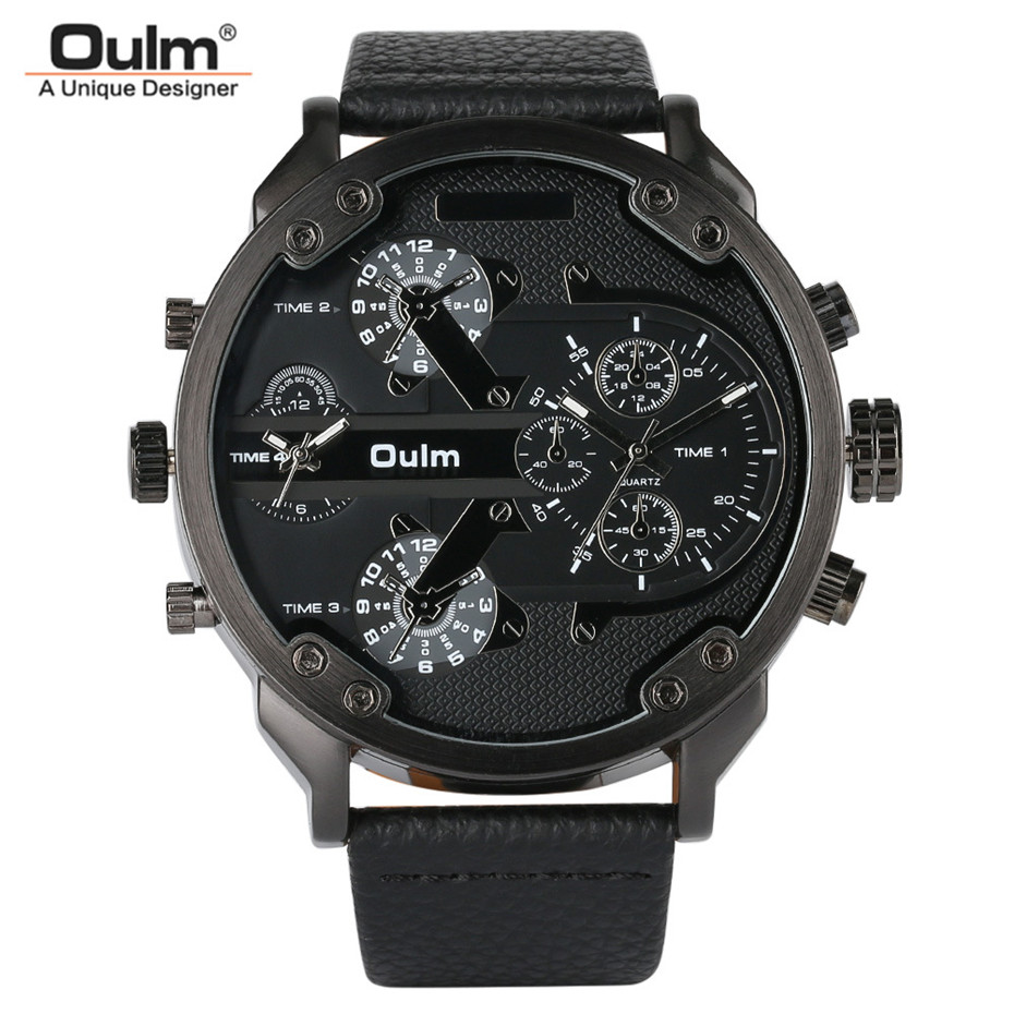OULM Big Dial Quartz Watch Men Military Black Color Genuine Leather Band Casual Man Wrist Watches Luxury Unique Style Male Clock цена