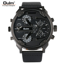 OULM Big Dial Quartz Watch Men Military Black Color Genuine Leather Band Casual Man Wrist Watches Luxury Unique Style Male Clock oulm 3364 casual wristwatch square dial wide strap men s quartz watch luxury brand male clock super big men watches montre homme