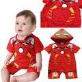 Moda Bebê Menino Miúdo Crianças Partido Roupa do Homem De Ferro Vermelho Jumpsuit Romper One-pieces