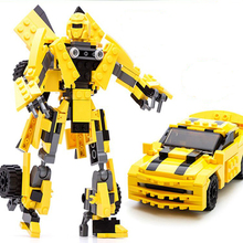 8711 City Transformation Robot Yellow Car Building Blocks Sets Robotics Gudi Educational Toys For Children Gifts