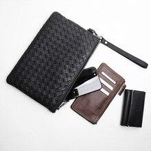 LANSPACE genuine leather men bag famous brand men wallets fashion handbag