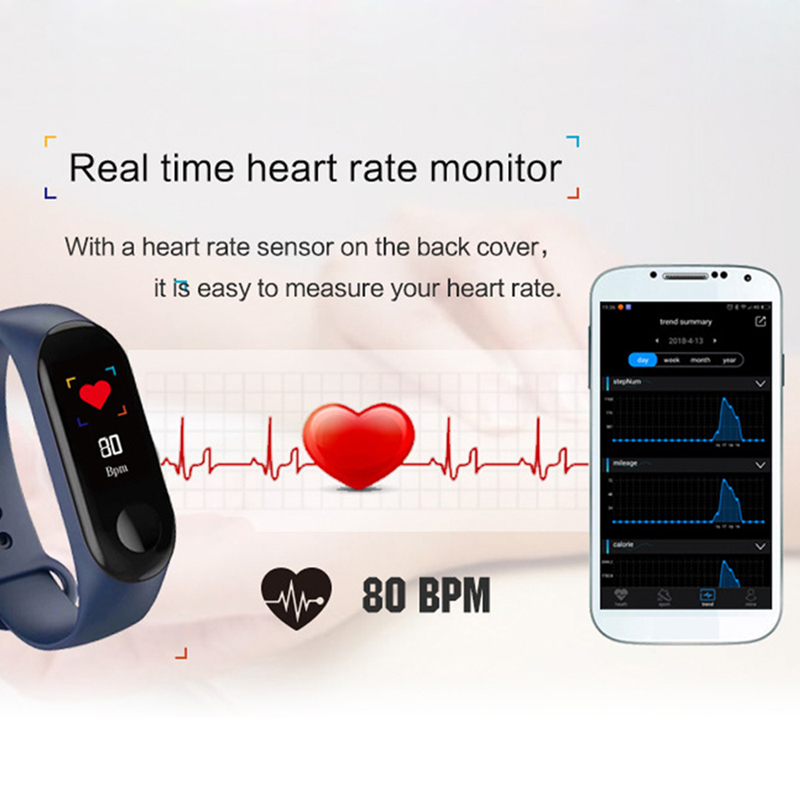 Image 5 - 3 Colors Fitness Bracelet Blood Pressure Outdoor IPS Screen Heart Rate Monitor Life Waterproof Smart Wristbands PK Mi Band 4-in Smart Wristbands from Consumer Electronics