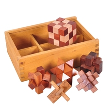 6Pcs IQ Puzzle Wood Toys Brain Teaser Kong Ming Luban Lock Cube Toys Classic Toy with Wooden Box Early Education for Kids Adults