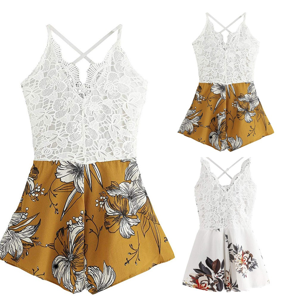 Summer Fashion Woman Casual Sleeveless Strap Print Lace Short   Jumpsuit   One Piece Sexy Costumes Backless Romper For Ladies New