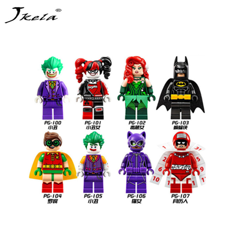 [Jkela] Super Heroes Harley Quinn Joker Batman Movie Catwoman Robin Poison Building Blocks Compatible With Legoingly Batman loz mini blocks batman robin ironman thor loki harley quinn poison mini super hero bricks diy building blocks toys gift