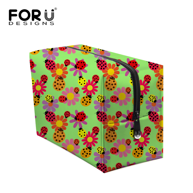 Cute Flower Ladybug Print Women Cosmetic Bag Fashion Travel Makeup Storage Bag Ladies Organizer Makeup Bag Neceser Maquillaje