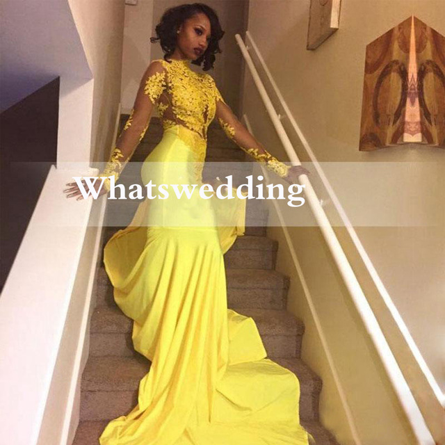 a69f1d09be5 2019 Yellow African Lace Appliqued South African Prom Dress Mermaid Long  Sleeve Banquet Evening Party Gown vestidos de fiesta