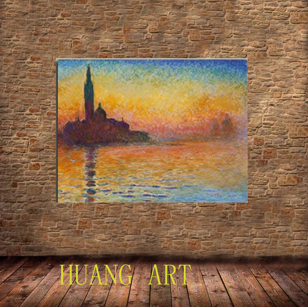 Art dusk in venice by claude monet oil paintings reproduction modern canvas landscape pictures artwork paintings on canvas wall