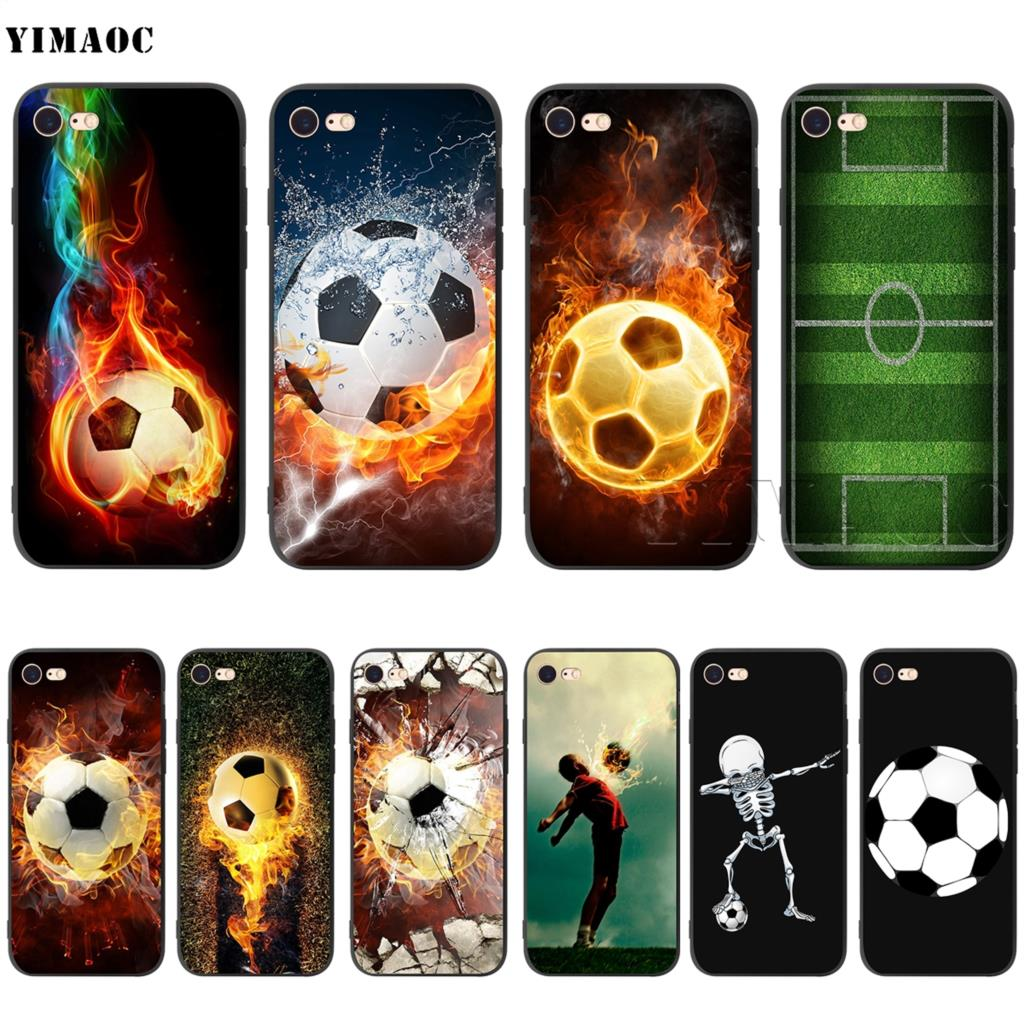 YIMAOC Fire Football Soccer Ball Silicone Soft Case for iPhone 5 5S SE 6 6S 7 8 Plus X