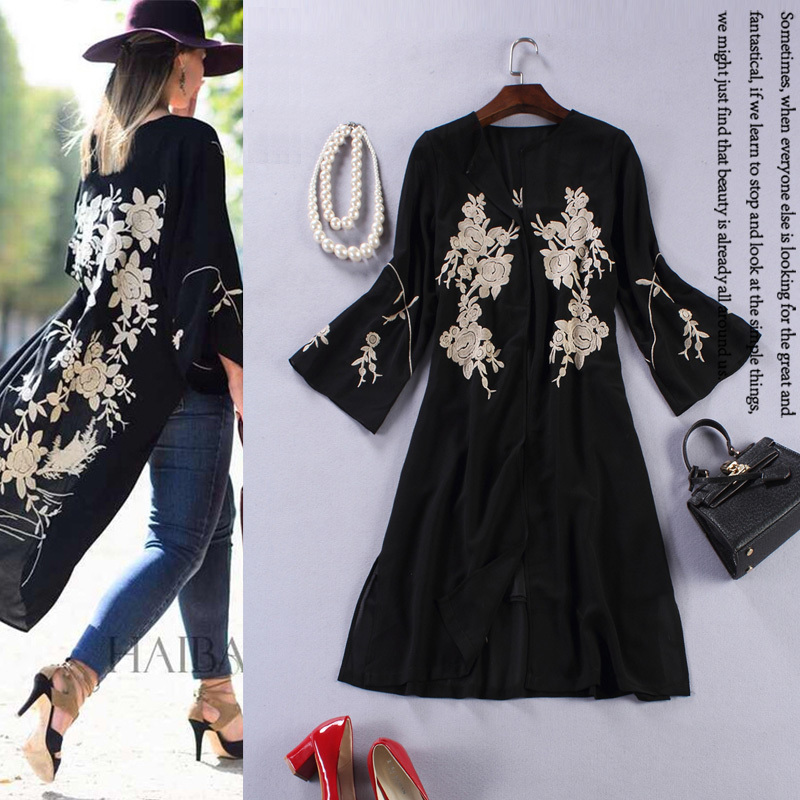 Black embroidery trench coat women s 2015 spring runway brands thin  lightweight summer trench coat ladies cape coat XXL female 794e5ebf2