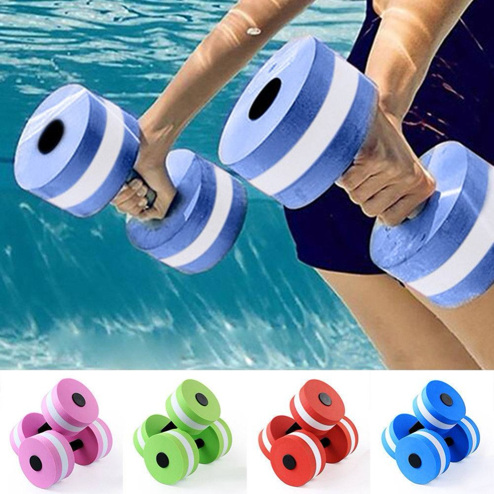 1pc EVA Water Foam Floating Dumbbell Swimming Pool Water Weight Aerobics Automatic Float Aquatic Barbell Toy