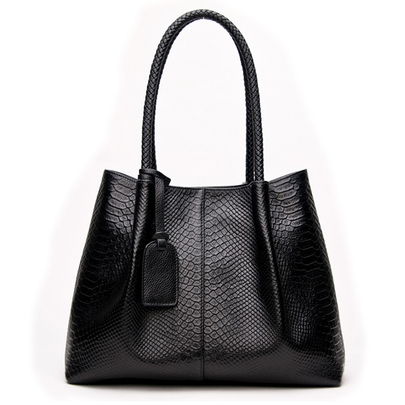 Really Genuine Leather Handbags Large Capacity Women Bag Snake Shoulder Bag Luxury Bags Famous Brands Casual Femme Tote Bags