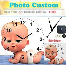 Diy 5d diamond painting 5D clock Full Square/ Round Photo Diamond Painting accessories full square Custom Clock broderie diamant
