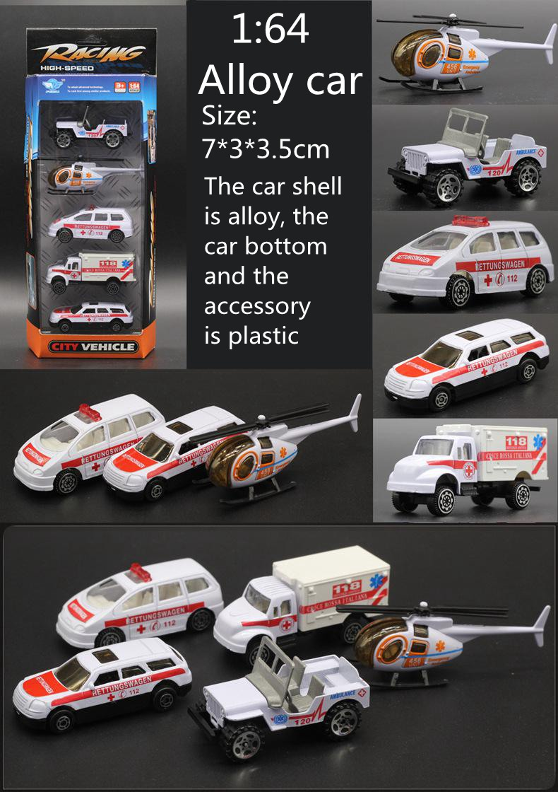 5pcs 1:64 Diecast Vehicles Steel Mannequin Automobile Dinky Toys For Kids Brinquedos Alloy Helicopter Truck Toy Ambulance Vs Hotwheels