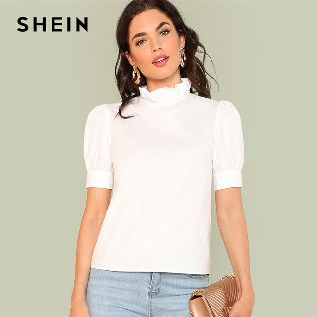 SHEIN Layered Ruffle Collar Tunic Top 2018 Summer Stand Collar Short Sleeve  Preppy Blouse Women White Solid Youthful Blouse 9f4a7bd215bc